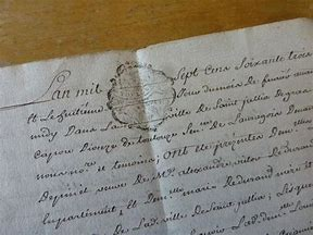 An old manuscript written in French.