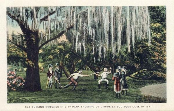 Gentlemen duel under oaks